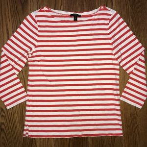 J. Crew Red White Striped 3/4 Sleeve Top Shirt XS
